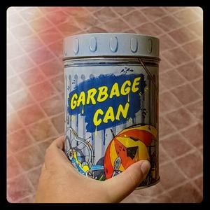 Vintage 90s Garbage Can Graphic Tin Cannister